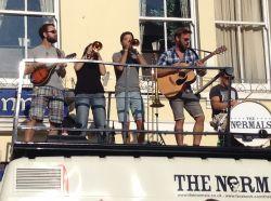 Devon 5-piece played atop their tour truck.
