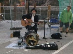 One man band on quayside kept the folk and classic numbers coming.